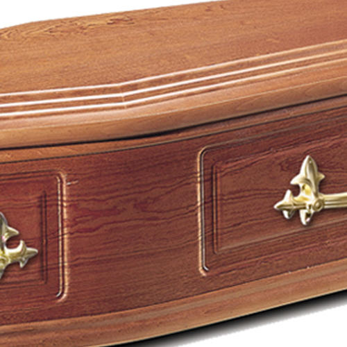 Close up of Blakeswood Veneered Coffin
